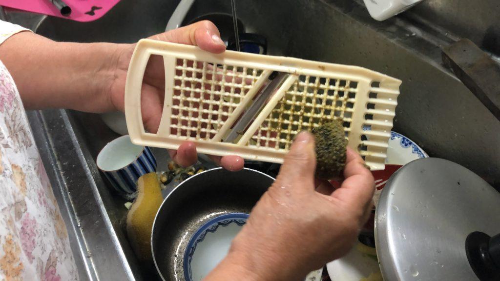 イソアワモチ 調理方法 汚れを落とす